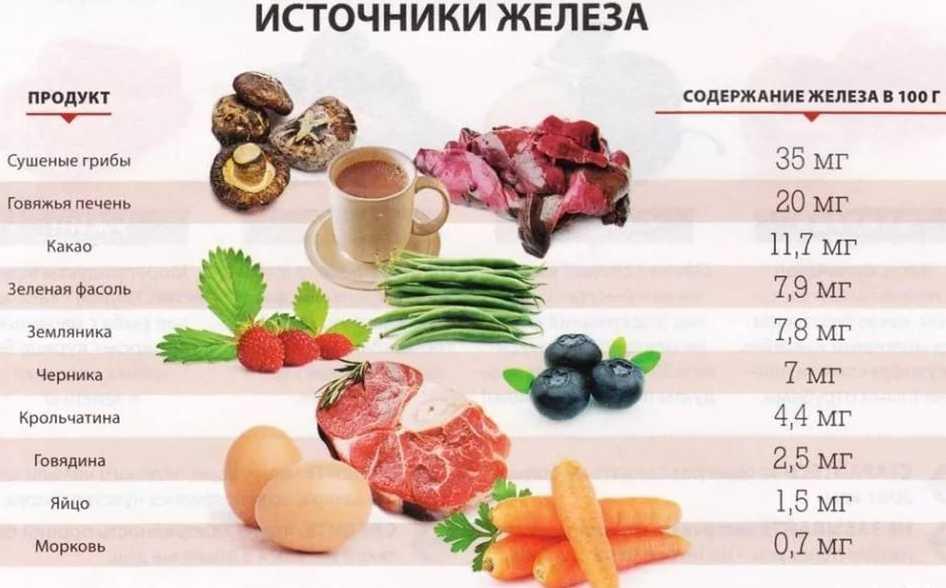 Источники железа при анемии