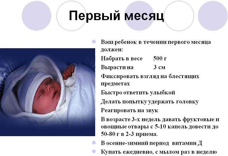 1 месяц ребенку что должен уметь делать