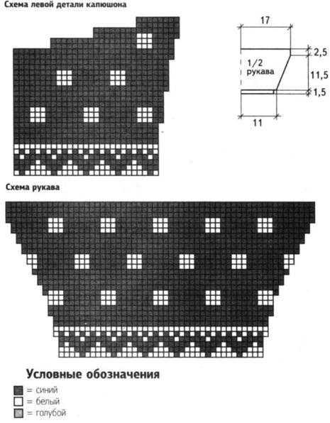 Схема рукава и капюшона вязанного коверта для новорожденного